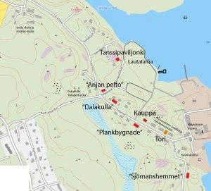 Isnäsin alakylän kartta, johon on merkitty punaisella entisten talojen paikat.