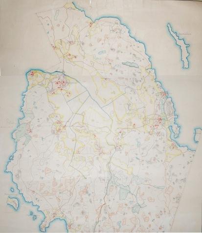 Karta över Rönnäs och Labby skogar i Pernåsocken. Kartta Rönnäsin ja Labbyn metsistä Pernajan pitäjässä.